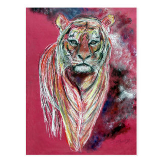 Tiger art print , animal popart by T J Conway Postcard