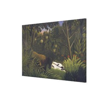 Tiger Attacking a Horse and a Sleeping Black Man ( Stretched Canvas Print