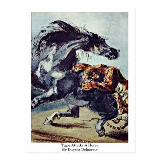 Tiger Attacks A Horse By Eugene Delacroix Postcard