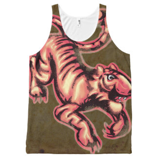 Tiger Baby Painting Cartoon Salmon Brown All-Over Print Tank Top