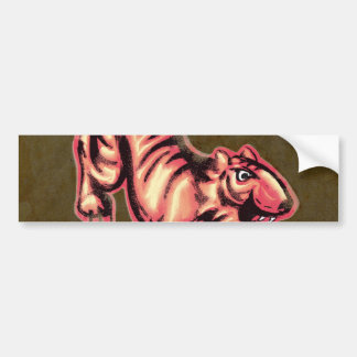 Tiger Baby Painting Cartoon Salmon Brown Bumper Sticker