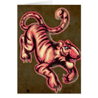 Tiger Baby Painting Cartoon Salmon Brown Card