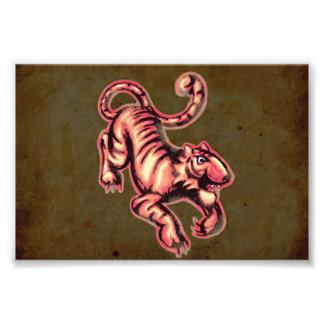 Tiger Baby Painting Cartoon Salmon Brown Photograph