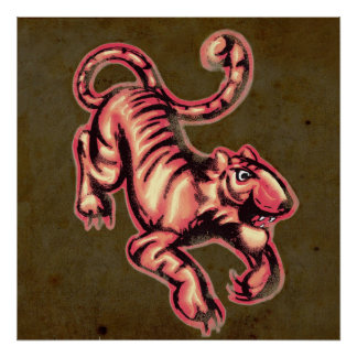 Tiger Baby Painting Cartoon Salmon Brown Poster
