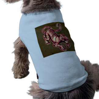 Tiger Baby Painting Cartoon Salmon Brown Sleeveless Dog Shirt