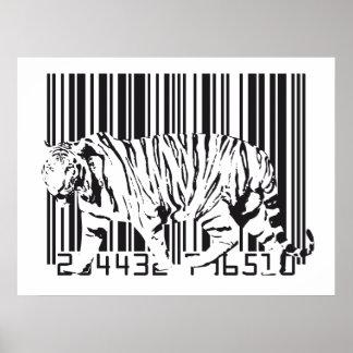 Tiger Barcode Art Poster