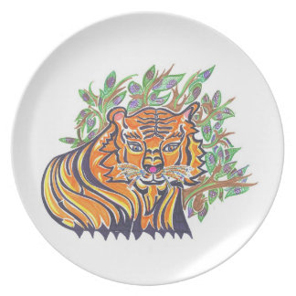 TIGER Bengal Tiger in the lush foliage Plates
