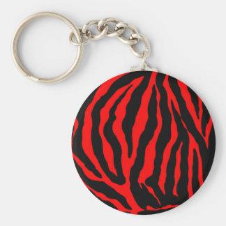 Tiger big cat print basic round button key ring
