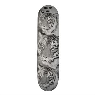 tiger big cat realist portrait painting monochrome skate board deck