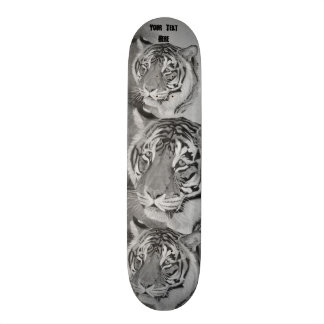 tiger big cat wildlife  black and white art design skate board deck
