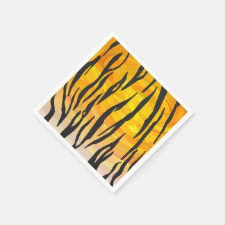 Tiger Black and Orange Print Disposable Napkin