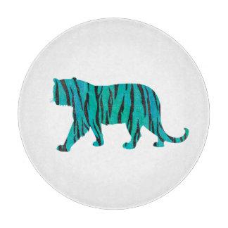 Tiger Black and Teal Print Cutting Board