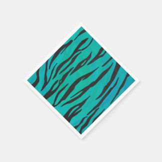 Tiger Black and Teal Print Disposable Napkin