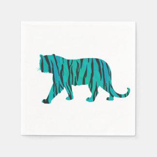 Tiger Black and Teal Print Disposable Serviette