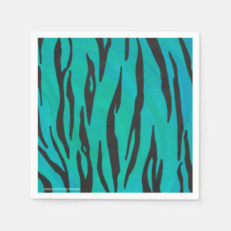 Tiger Black and Teal Print Disposable Serviettes