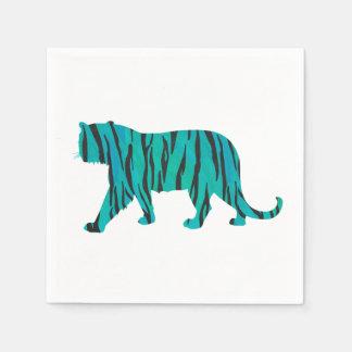 Tiger Black and Teal Print Paper Napkins