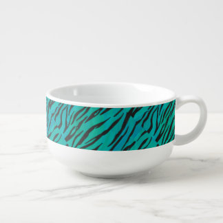 Tiger Black and Teal Print Soup Bowl With Handle