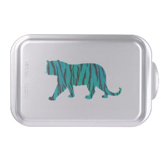 Tiger Black and Teal Silhouettes Cake Tin