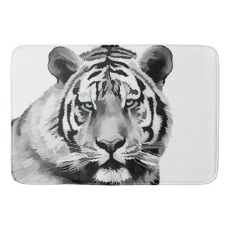 Tiger Black and White Blue eyes Bath Mat