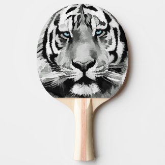 Tiger Black and White Blue eyes Ping Pong Paddle