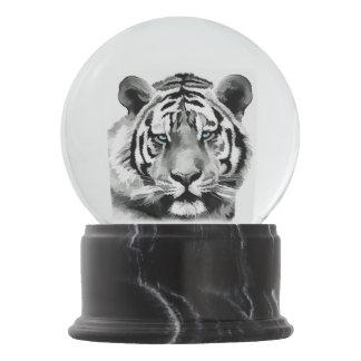 Tiger Black and White Blue eyes Snow Globe