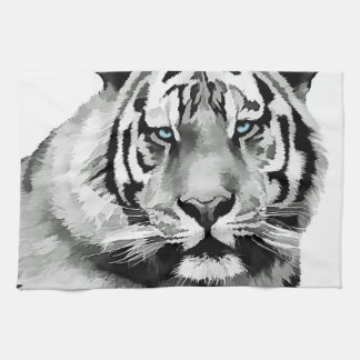 Tiger Black and White Blue eyes Tea Towel
