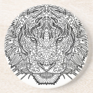 Tiger - Black and White Illustration - Coloring in Beverage Coaster