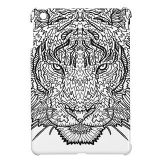 Tiger - Black and White Illustration - Coloring in Case For The iPad Mini