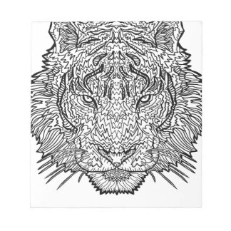 Tiger - Black and White Illustration - Coloring in Notepad