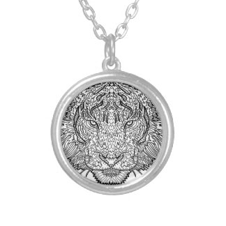 Tiger - Black and White Illustration - Coloring in Silver Plated Necklace
