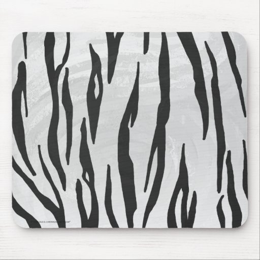 Tiger Black and White Print Mouse Pads