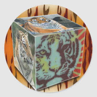 TIGER BLOCK / CUBE GIFTS CLASSIC ROUND STICKER