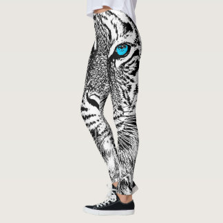 Tiger Blue Eyes Decor on Leggings