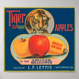 Tiger Brand Apples VIntage Crate Label Poster