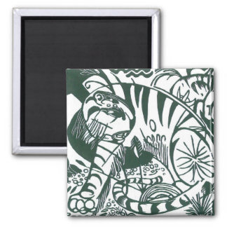 Tiger by Franz Marc, Black and White Fine Art Square Magnet