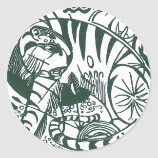 Tiger by Franz Marc, Vintage Expressionism Art Stickers