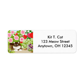 Tiger Cat in Garden Avery Label