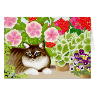 Tiger Cat in Garden Jungle Card