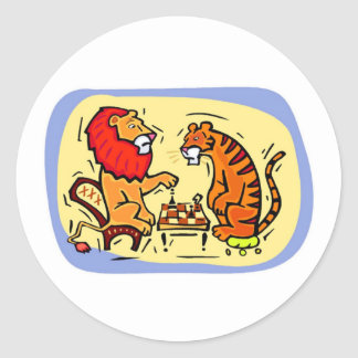 Tiger Chess Classic Round Sticker