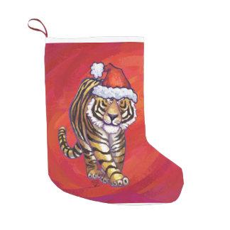 Tiger Christmas on Red Small Christmas Stocking