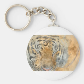 Tiger Close Up in Watercolor Basic Round Button Key Ring