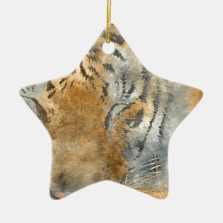 Tiger Close Up in Watercolor Ceramic Ornament