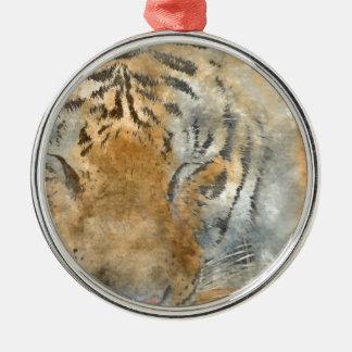 Tiger Close Up in Watercolor Metal Ornament