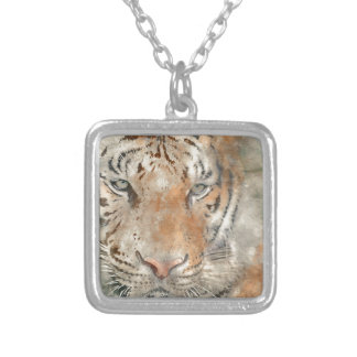 Tiger Close Up in Watercolor Silver Plated Necklace