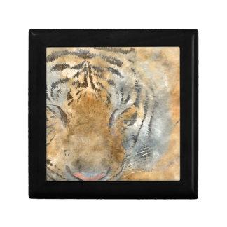 Tiger Close Up in Watercolor Small Square Gift Box
