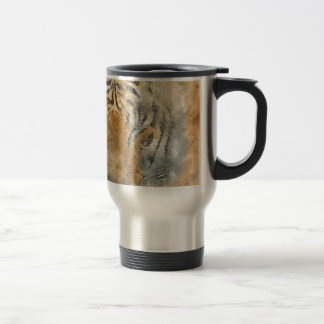 Tiger Close Up in Watercolor Travel Mug