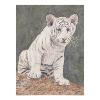 Tiger Cub Original Painting  18x24 Poster