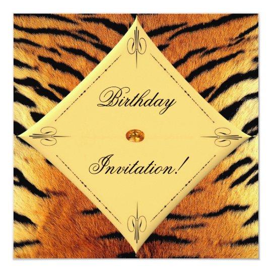 Tiger Design Birthday Invitation