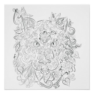 Tiger drawing adult colouring poster