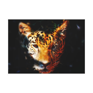 Tiger emerging stretched canvas print